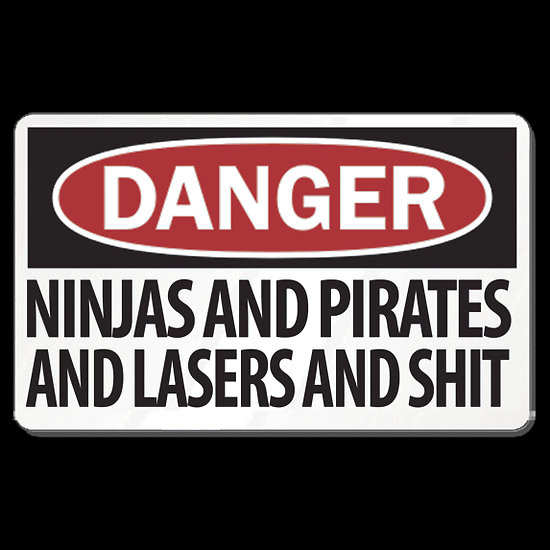 ninjas and pirates and lasers oh my t shirt by jesse coté