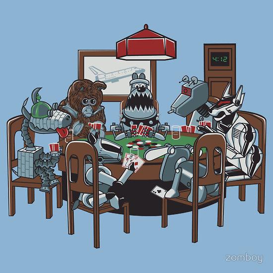 Robot Dogs Playing Poker